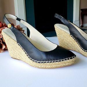 Anne Klein Black Leather Espadrilles Wedge Heel 10